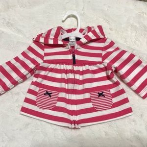 Carter's Shirts & Tops - Carter's Pink & White Striped Hoodie